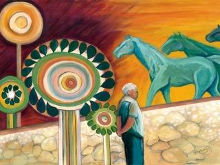 dvora-azulayman-looking-at-green-horses